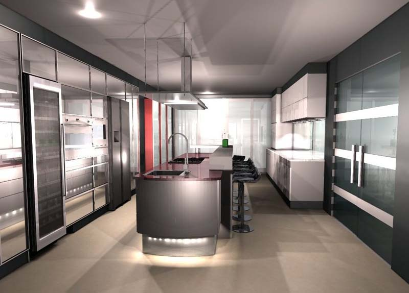 Kitchen 3d interior design render